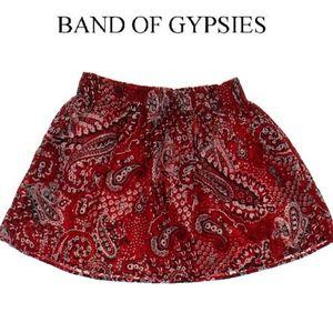 BAND OF GYPSIES RED PAISLEY SKATER SKIRT
